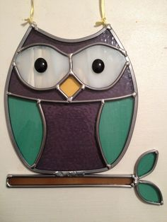 Owl stained glass sun catcher. by HEvansDesigns on Etsy
