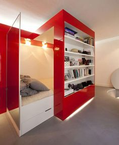 Red Nest: Bookcase, Bed & Desk by Paul Coudamy Dezeen | Apartment Therapy