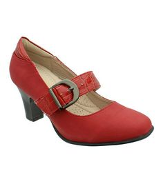 Another great find on #zulily! Red Mindy Snakeskin Mary Jane by LE COMFORT #zulilyfinds