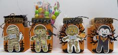 Stampin' Up Cookie Cutter Halloween Treat Holders designed by Lynn Gauthier using SU's Cookie Cutter Halloween, Halloween Scenes, Halloween Scares, Everyday Jars and Home Sweet Home.  Go to http://lynnslocker.blogspot.com/2016/08/stampin-up-sneak-peek-2016-2017-holiday_23.html to see how these were made.