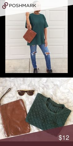 Emerald Green Textured Tee Unique emerald green textured oversized T-shirt. We don't know the material (maybe a cotton blend),  but we know this shirt is life! Tops Blouses