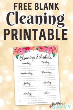 Download and print off this free blank cleaning printable to organize your cleaning schedule. Daily Cleaning, House Cleaning Tips, Cleaning Hacks, Cleaning Schedule Printable, Weekly Planner Printable, Organisation Hacks, Cleaners Homemade, Clean House, Dollar Stores