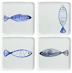 Margaret Berg Art: Retro Watercolor Fish Plates