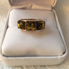 NEW! Sterling Silver & Green Amber Band Ring Gorgeous Sterling Silver & Green Amber Band Ring. Never Worn. Jewelry Rings