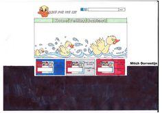 """Dit is mijn schets voor de homepagina, ik wil graag dit layout een beetje aanhouden en heb daarbij ondervonden dat de animatie het meest opvalt als die groot in beeld gebracht wordt. Onder de animatie plaats ik een aantal veilingsitems om een beetje een idee te geven wat er op de website wordt """"geveild"""""""