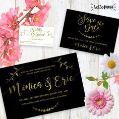 Black and gold Wedding Invitation Kid - Customizable and printable - Elegant and beautiful design de HelloPonyWorld en Etsy