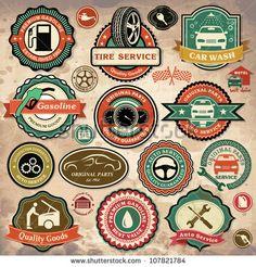 """""""Coleção de etiquetas, emblemas e ícones de carros vintage retrô grunge"""""""