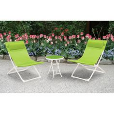 Sling 3-piece Folding Outdoor Bistro Set, Green, Seats 2
