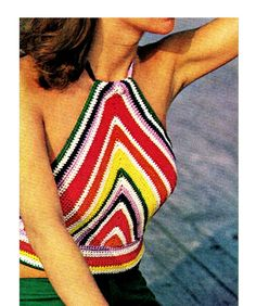PDF Crochet Pattern  ChevronStriped HALTER Top by KinsieWoolShop, $3.20