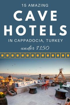 Oh my! So tempted... Enjoy a unique luxury cave living experience by staying at one of these 15 amazing cave hotels in Cappadocia Turkey. All for under $150 per night! (Click through to find your ideal cave hotel)