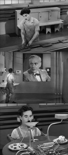 Charlie Chaplin playing the quintessential unemployed underdog in Modern Times 1936. These clips show him at work in a steel mill. The scene in the middle shows that workers are watched even in the bathroom. In the last clip, sci-fi is provided for the sake of humor: a machine that helps workers eat without stopping production.