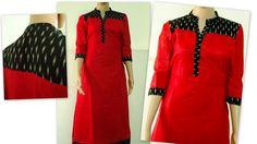 Red & Black Salwar Pattern, Kurta Patterns, Dress Patterns, Churidar Designs, Kurti Neck Designs, Kurti Styles, Stylish Dress Designs, Tunic Designs, Simple Shirts