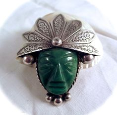 Vintage STERLING FACE PIN Taxco Mexico by DaffodilsVintage on Etsy, $76.00