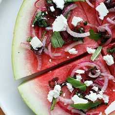 Watermelon Pizza is a luscious salad that's a fun, fabulous and fancy feast full of fantastic flavors and impeccable appeal. (Say that three times fast! Add arugula and balsamic! Watermelon Pizza, Watermelon And Feta, Watermelon Recipes, Summer Salad Recipes, Summer Salads, Feta Salad, Soup And Salad, I Love Food, Healthy Eating