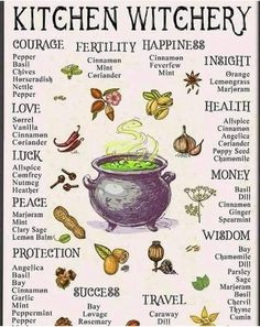 Kitchen witchery Herbs for different purposes 🌿 Witch Spell Book, Witchcraft Spell Books, Green Witchcraft, Witchcraft Herbs, Magick Book, Grimoire Book, Wiccan Magic, Wiccan Witch, Wiccan Spells