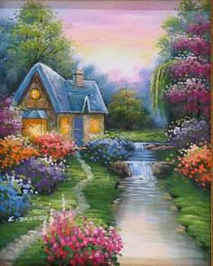 Romantic Cottages In A World Made Of Dreams, Where True Love Reigns And Tears Are Of Joy. . . Shed Only By Those Souls That Gleam ~ Oil Painting.