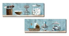 Powder Blue Bathroom Scenes Panels; Two 18x6in Prints. Blue/Brown