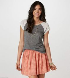 NWT American Eagle AE Summer Circle Skirt size L Large Coral Womens New $35