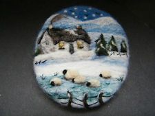 Hand Made Needle Felted Brooch/Gift   'In the Bleak Midwinter'  by Tracey  Dunn