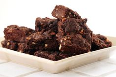 Gluten-Free Super Fudgy Chocolate Brownies recipe - Canadian Living (I'd try them without the nuts). Fudge Brownies, Brownie Cake, Chocolate Brownies, Chocolate Desserts, Coffee Brownies, Baking Brownies, Coconut Brownies, Zucchini Brownies, Bean Brownies