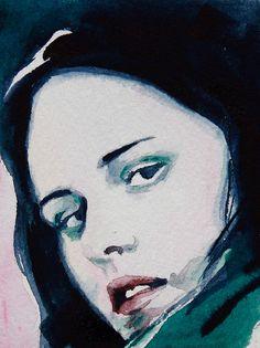 Watercolour portrait of Bella from Twilight by Christy DeKoning