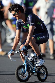 Andrey Amador of Costa Rica and the Movistar team rides a mini bicycle before the People's Choice Classic race of the Tour Down Under on January 20, 2013 in Adelaide, Australia. (January 19, 2013 - Source: Morne de Klerk/Getty Images AsiaPac) (via 2013 Tour Down Under - Pictures - Zimbio)