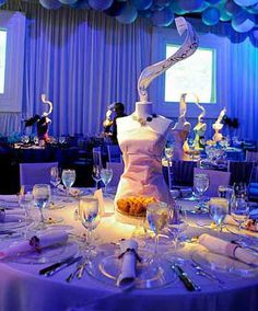 This fashion themed bat mitzvah featured mannequin dress forms as table decor created by Something New Events in Canfield Ohio.  We sell dress forms at Mannequin Madness so you can create your own decoration like this