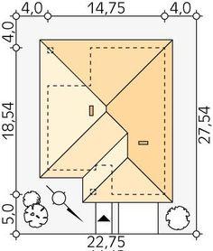DOM.PL™ - Projekt domu MT Decyma CE - DOM MS2-37 - gotowy koszt budowy Home Building Design, Building A House, Roof Design, House Design, Colonial, House Plans, Sweet Home, New Homes, Floor Plans