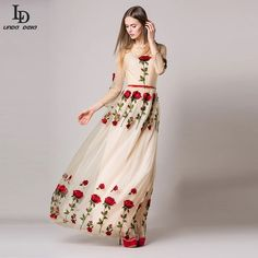 Women Dress 2016 New Spring And SummerFashion Vintage Rose Heavy  Embroidered Sexy Lace Collar Long Dress Black Plus Size