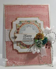 Birthday card created by Michelle using products by JustRite, Prima, My Mind's Eye and May Arts all from The Stamp Simply Ribbon Store.