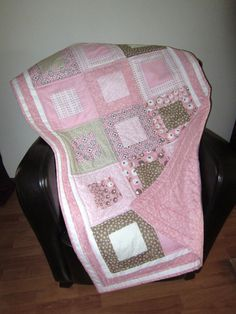 Baby Quilt Girl Vintage Baby Blanket Baby Bedding Toddler Blanket Crib Quilt Lap Quilt Pink White Toddler Bedding Nursery Crib. $135.00, via Etsy.