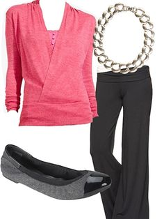 Sweater, $49.90, thelimited.com; Pants, $49.95, gap.com; Necklace, $25, lulus.com; Flats, $24.99, payless.com