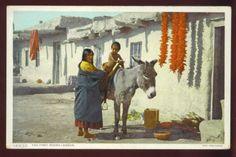 NM ~ INDIAN WOMAN & CHILD RIDING DONKEY ~ DETROIT PHOSTINT ~ c. 1910's.       Propiedad   y cortesía de Archivos Rodríguez LLC, archivofotograficodepuertorico.com