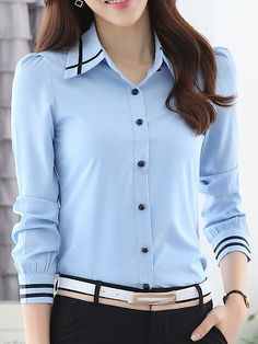 Turn Down Collar Contrast Piping Chiffon Blouse - Look Fashion Chiffon, Blouse Online, Collar Blouse, Blouse Styles, Look Fashion, Cheap Fashion, Trendy Fashion, Latest Fashion, Short Sleeve Blouse