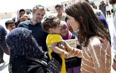 Crown Princess Mary of Denmark  visited a  refugee camp in Jordan.