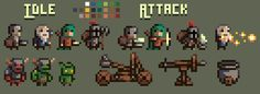 """Sprite concepts for new medieval platformer idea!"" by Smoodlez  from r/pixelart"