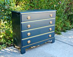 Refinished Four Drawer Dresser, smooth wax finish.  Rub and Buff metallic hardware