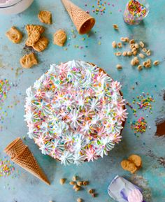 coney island cheesecake: Funfetti cheesecake with a ice cream cone crust and cotton candy frosting—seriously! Cupcakes, Cupcake Cakes, Cheesecake Recipes, Dessert Recipes, Candy Recipes, Dessert Ideas, Cake Pops, Just Desserts, Delicious Desserts