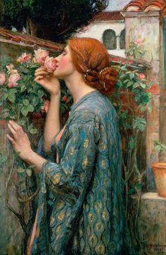 fckyeaharthistory: John William Waterhouse - De Ziel van de roos Painting, 1908.  Olieverf op doek