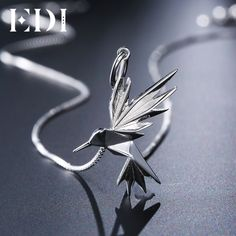 Limited Offer $18.10, Buy EDI Trendy Bird Animal 100% 925 Sterling Silver Female Pendants Necklace Party Cute Girl Fine Jewelry