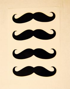 Vinyl Mustache Stickers  4ct Pack by zdeville on Etsy, $2.00