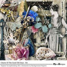 Digital Scrapbooking, Scrapbook Kit, Digital Download, Vintage Style, Digital Papers, Digital Elements, Shabby Papers, Scrapbook Elements,