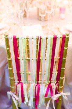fun way to decorate a chair for a party..it's all in the details