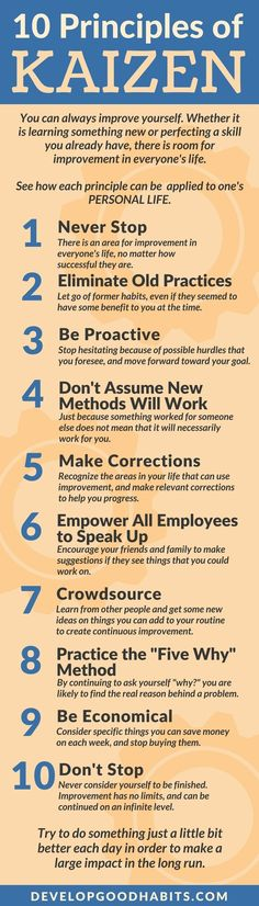 10 Principles of Kaizen infographic| click to see the ultimate guide to continuous improvement includes: What is Kaizen | History of Kaizen | How Kaizen can improve your life | 2 methods of building continuous improvement habit. | Kaizen for life and work training #improvement #selfimprovement #selfhelp #selfcare #productivity #timemanagement #business #work #career #success #life #facts #infographic