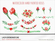 Watercolor hand painted Flowers design от ladyjdesignstore на Etsy, $4.50