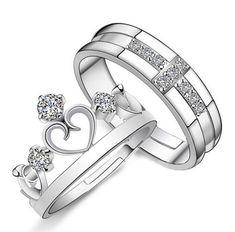 Crown Cross King Queen Adjustable Couples Rings