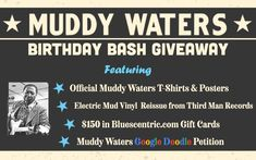Enter to claim one of SIX Chances to win official Bluescentric Brand Muddy Waters merchandise during the Muddy Waters 105th Birthday Bash Giveaway!