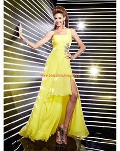 Boutique robe de soirée 2012 glamour longue asymétrique Jaune mousseline