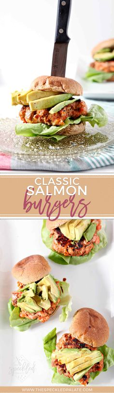 Fire up the grill and serve Classic Salmon Burgers tonight! These simple salmon burgers highlight the freshness and flavor of Alaskan sockeye salmon. Best Seafood Recipes, Salmon Recipes, Fish Recipes, Healthy Recipes, Burger Recipes, Delicious Recipes, Fish Burger, Salmon Burgers, Sandwiches