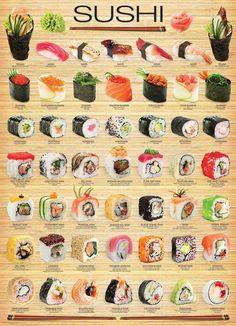 "I chose Eurographics amo ""sushi"" cartaz, Poster to represent Triadic Colors. Since Sushi is one of my favorite artistic treats. L'art Du Sushi, Sushi Art, Sushi Food, Dessert Sushi, Sushi Dishes, Vegan Sushi, Seafood Recipes, Cooking Recipes, Cooking Tips"